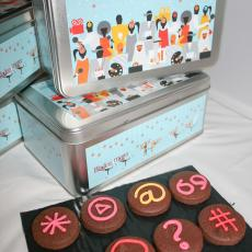 text cookies, Bladonmore biscuits, corporate biscuits
