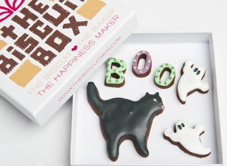 boo halloween ghost cat biscuit cookie by The Biscuit Box