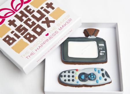 T.V. Remote control iced biscuit cookie by The Biscuit Box