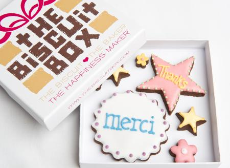 Thanks Danke Merci iced biscuit cookie by The Biscuit Box
