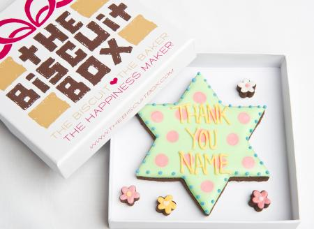 Star thank you iced biscuit cookie by The Biscuit Box