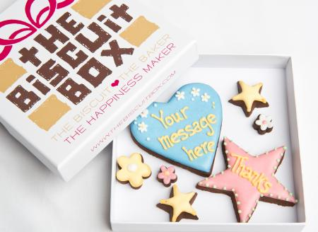 Thanks heart star biscuit cookie by The Biscuit Box