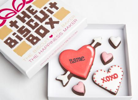 Valentines love heart biscuit cookie by The Biscuit Box