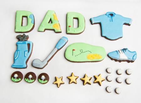 Golf biscuits, golf cookies, Fathers's Day iced biscuits by The Biscuit Box
