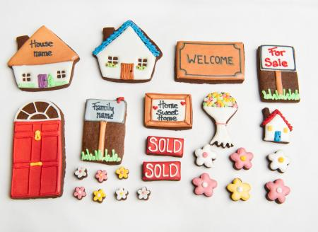 new home cookies house cookie,sold biscuit, cookies by The Biscuit Box