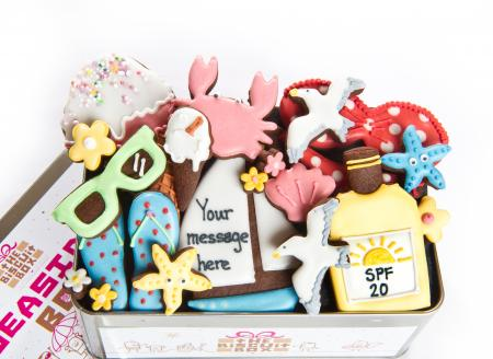 seaside cookies sunglasse biscuits, ice cream biscuit, cookie by The Biscuit Box
