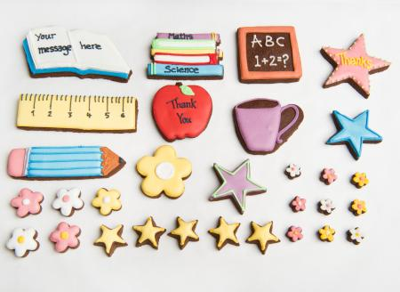 teacher cookies, ruler, balckboard, apple biscuits, cookies by The Biscuit Box