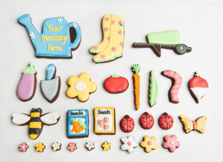 Gardening biscuits, flower cookies, tools iced biscuits, by The Biscuit Box