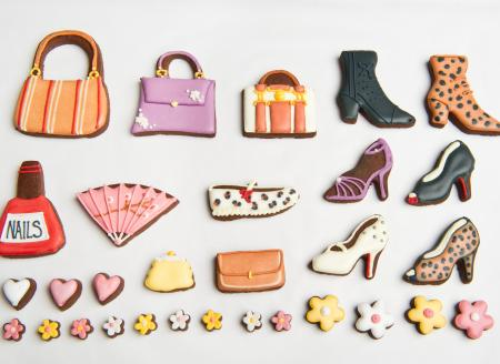 Fashion cookies, shoe biscuits, handbag biscuit by The Biscuit Box