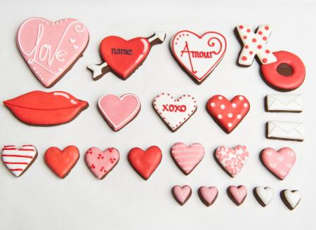 Valentines heart iced biscuits cookie by The Biscuit Box,Valentines biscuit gift