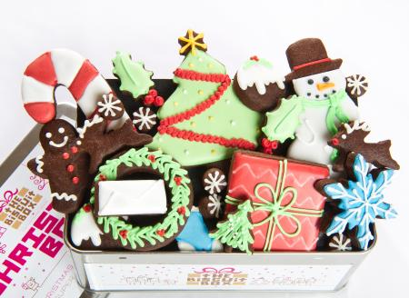 Christmas cookies, Christmas biscuits,tree,snowman, present iced biscuit