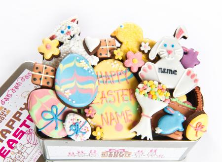 Easter cookies, egg, bunny, chick, lamb iced biscuit cookie by The Biscuit Box