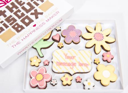 flowers cookies, flowers biscuits by The Biscuit Box, thank you cookies
