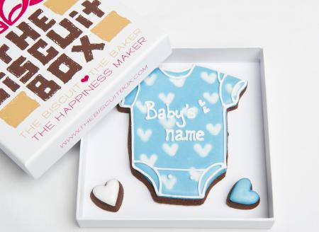 New Baby Boy Vest Iced Biscuits by The Biscuit Box