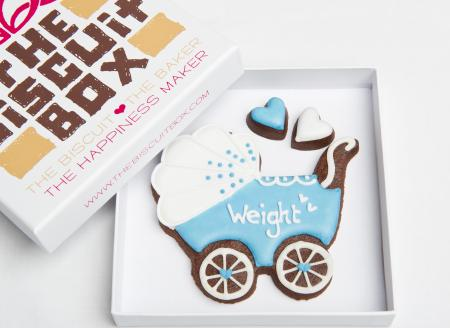 New Baby Boy Pram Iced Biscuits by The Biscuit Box
