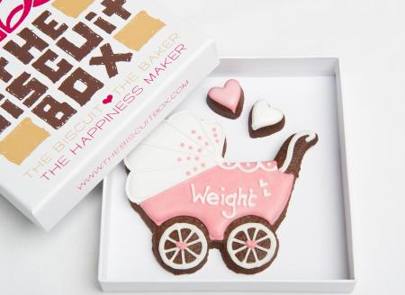 New Baby Girl Pram Iced Biscuits by The Biscuit Box