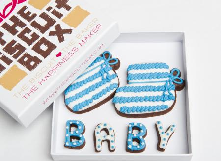 baby booties iced biscuit by The Biscuit Box