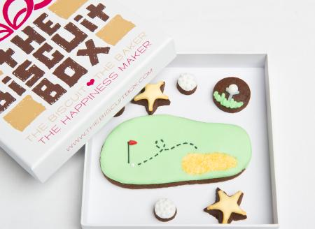 golf green golf tee golf balls iced biscuit cookie by The Biscuit Box