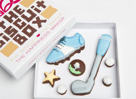 golf club golf shoe iced biscuit cookie by The Biscuit Box
