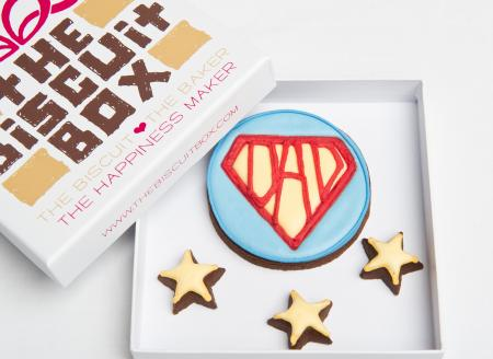 Super Dad Star iced biscuit cookie by The Biscuit Box
