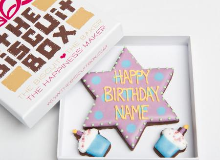 birthday star biscuit by The Biscuit Box