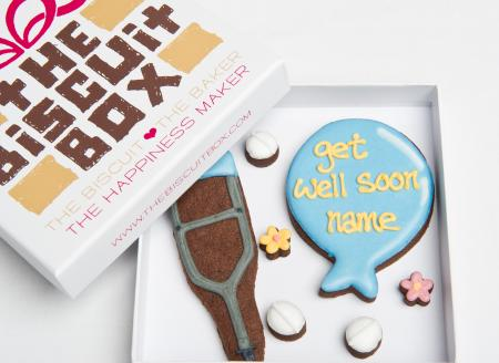 Get Well Crutch biscuit cookie by The Biscuit Box