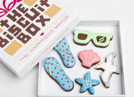 flip flops sunglasses icecream biscuit cookie by The Biscuit Box