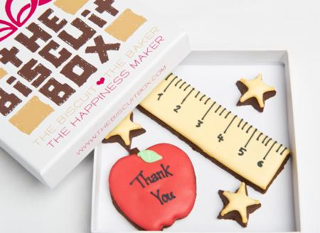 teacher ruler apple biscuit cookie by The Biscuit Box