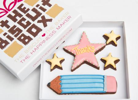 thanks teacher pencil iced biscuit by The Biscuit Box